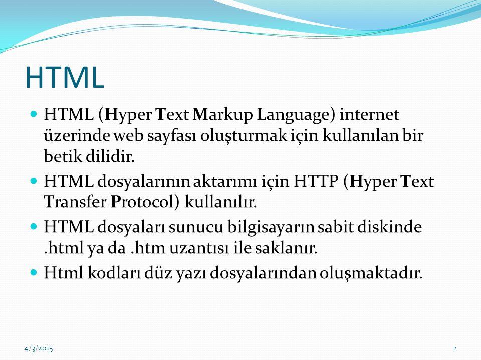 HTML HTML (Hyper Text Markup Language) internet üzerinde web sayfası oluşturmak için kullanılan bir betik dilidir. HTML dosyalarının aktarımı için HTT