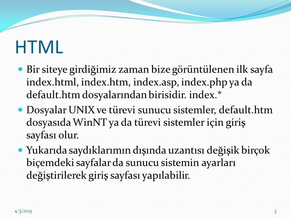 İlk Örnekler This text is bold This text is strong This text is big This text is italic This text is emphasized This is computer output This is subscript and superscript 4/3/201514