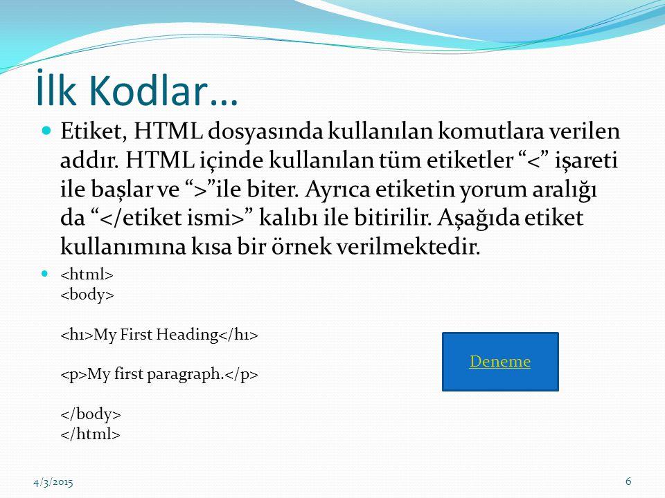 """İlk Kodlar… Etiket, HTML dosyasında kullanılan komutlara verilen addır. HTML içinde kullanılan tüm etiketler """" """"ile biter. Ayrıca etiketin yorum aralı"""