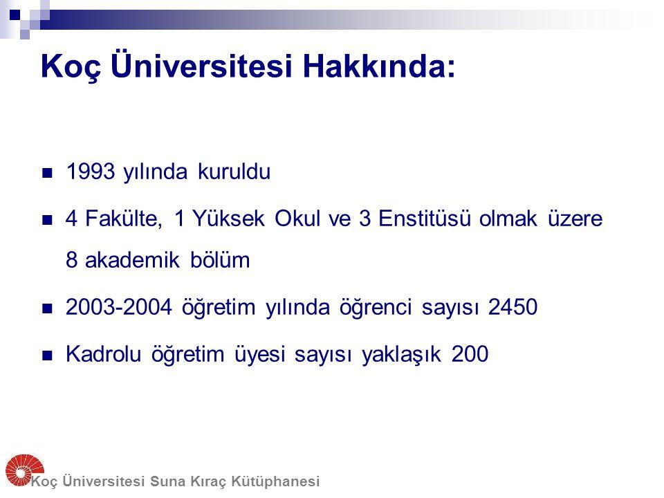 Koç Üniversitesi Hakkında: 1993 yılında kuruldu 4 Fakülte, 1 Yüksek Okul ve 3 Enstitüsü olmak üzere 8 akademik bölüm 2003-2004 öğretim yılında öğrenci