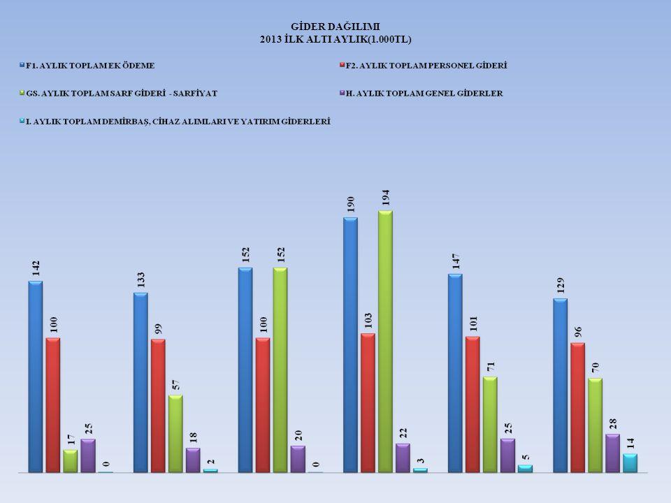 GİDER DAĞILIMI 2013 İLK ALTI AYLIK(1.000TL)