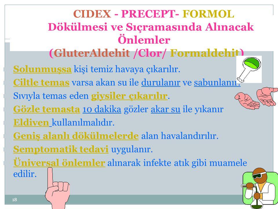 18 CIDEX - PRECEPT- FORMOL Dökülmesi ve Sıçramasında Alınacak Önlemler (GluterAldehit /Clor/ Formaldehit) Solunmuşsa kişi temiz havaya çıkarılır. Cilt
