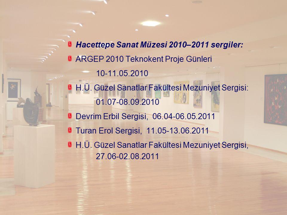 Hacettepe Sanat Müzesi 2010–2011 sergiler: ARGEP 2010 Teknokent Proje Günleri 10-11.05.2010 H.Ü. Güzel Sanatlar Fakültesi Mezuniyet Sergisi: 01.07-08.