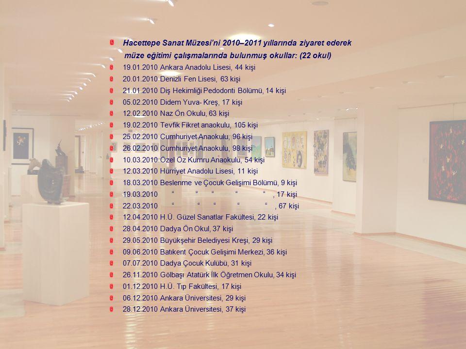 Hacettepe Sanat Müzesi'ni 2010–2011 yıllarında ziyaret ederek müze eğitimi çalışmalarında bulunmuş okullar: (22 okul) 19.01.2010 Ankara Anadolu Lisesi