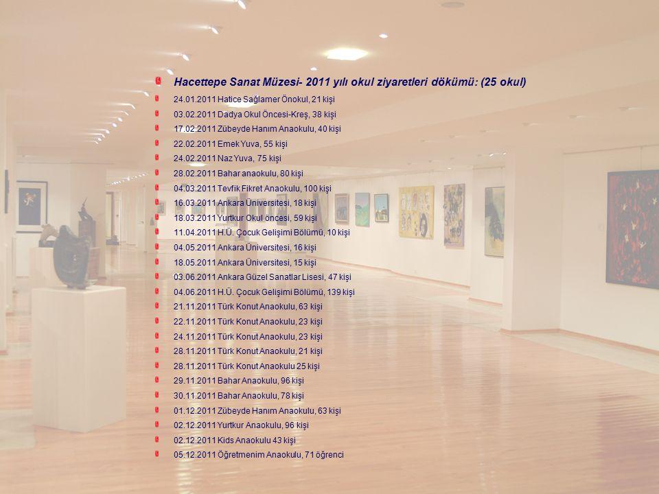 Hacettepe Sanat Müzesi- 2011 yılı okul ziyaretleri dökümü: (25 okul) 24.01.2011 Hatice Sağlamer Önokul, 21 kişi 03.02.2011 Dadya Okul Öncesi-Kreş, 38