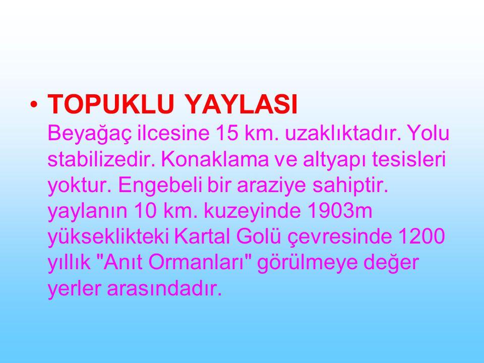 TOPUKLU YAYLASI Beyağaç ilcesine 15 km. uzaklıktadır. Yolu stabilizedir. Konaklama ve altyapı tesisleri yoktur. Engebeli bir araziye sahiptir. yaylanı