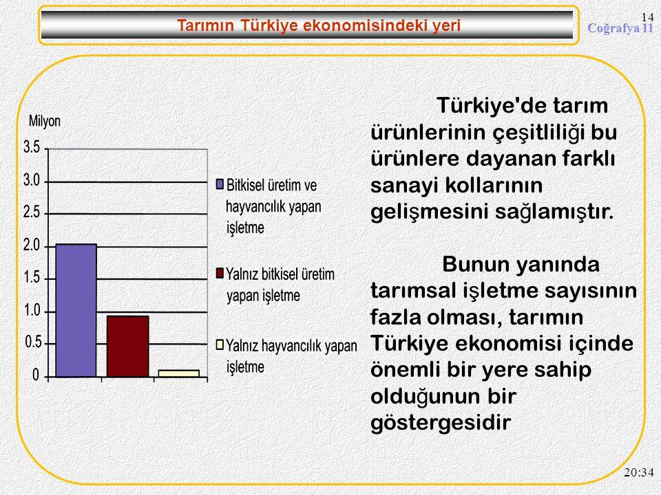 13 Tarımın Türkiye ekonomisindeki yeri Cumhuriyetin ilk yıllarında nüfusun tamamına yakını tarımdan geçimini sa ğ lamaktaydı. Bu oran sonraki yıllarda