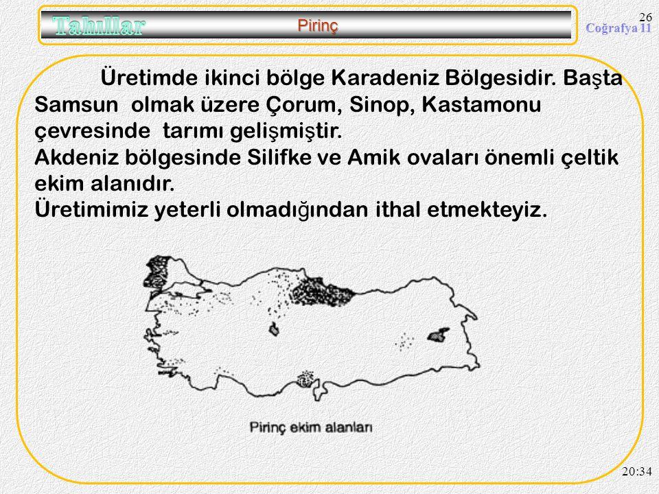 25 Pirinç Üretimde en büyük paya sahip bölgemiz Marmara Bölgesidir. Ba ş ta Edirne ilimiz gelmektedir. Ayrıca Balıkesir, Çanakkale ve Bursa çevrelerin