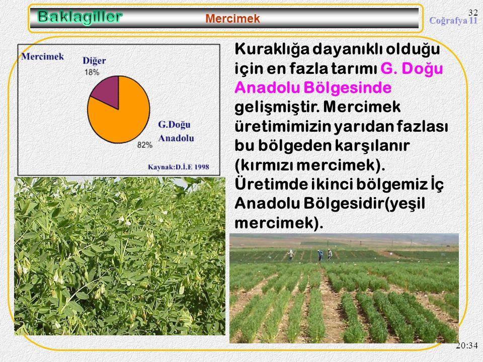 31 Fasulye 20:36 Yurdumuzda sulama imkanı olan her yerde tarımı yapılabilir. Üretimde en büyük paya sahip bölgemiz İ ç Anadoludur.
