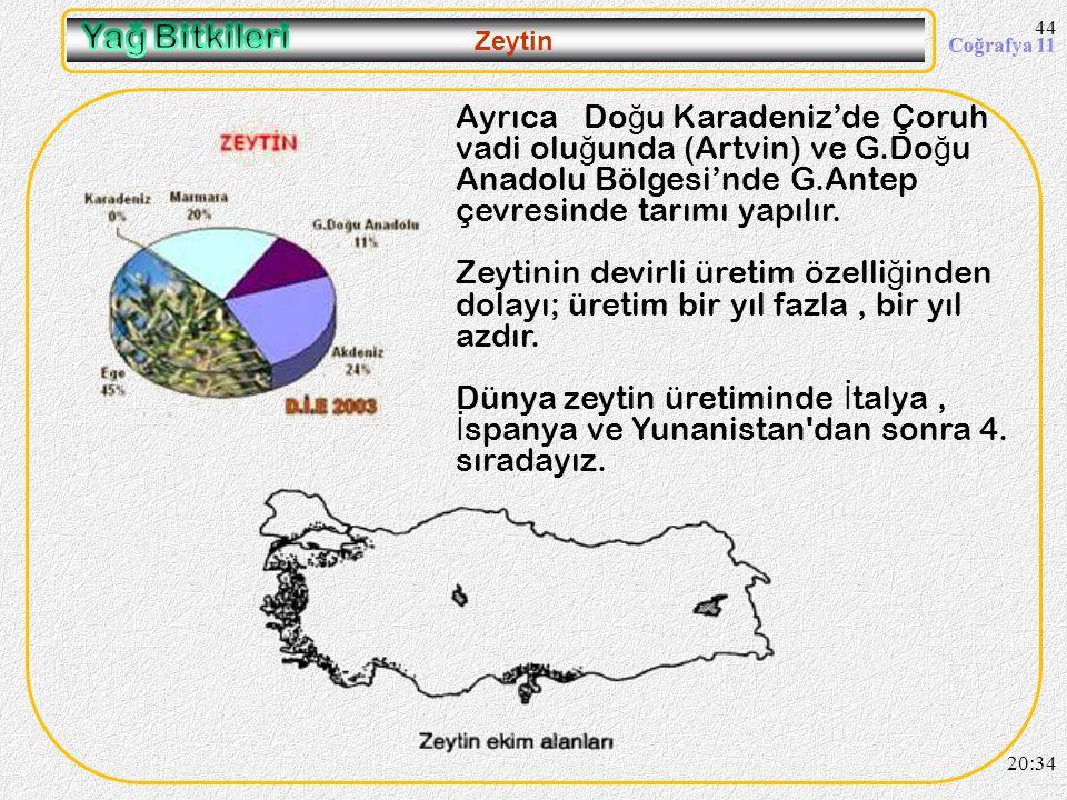 43 Zeytin 20:36 Akdeniz iklim bitkisidir. Ancak Akdeniz Bölgesinde tarımı fazla geli ş memi ş tir. Daha fazla gelir getiren ürünlere öncelik tanınması