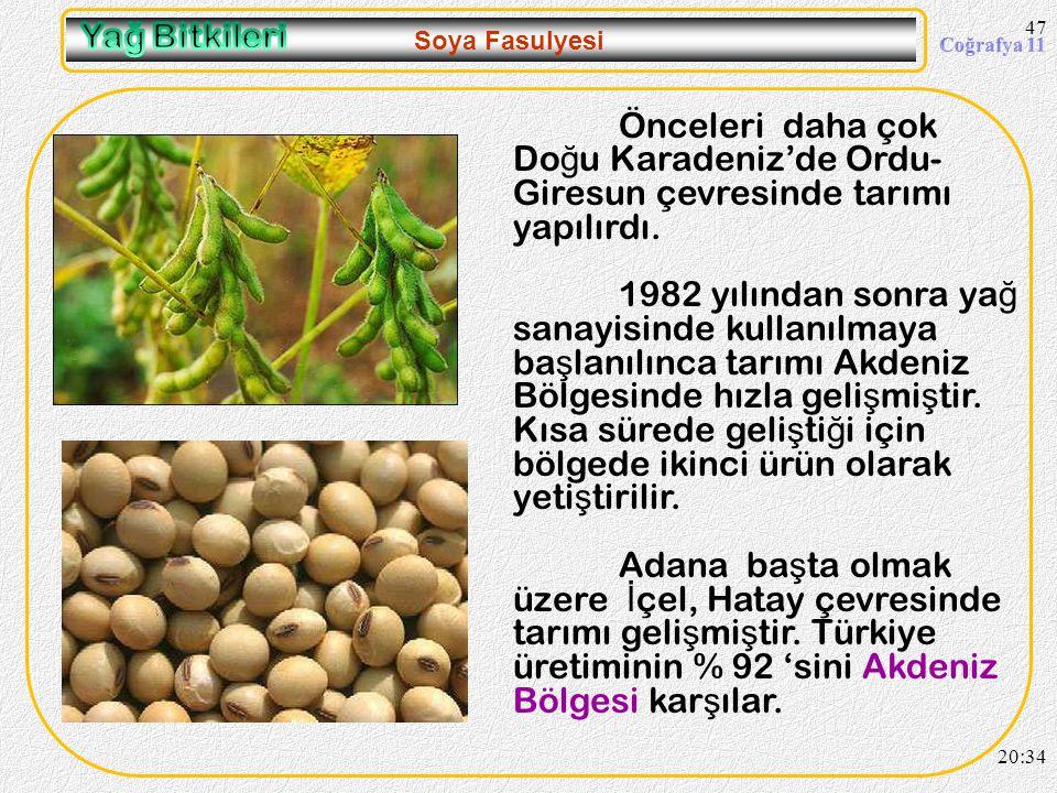 46 Ayçiçeği 20:36 Son yıllarda Akdeniz ve Ege Bölgelerinde ayçiçe ğ i tarımı hızla geli ş me göstermektedir. Sebebi pamuk bitkisine göre daha az masra