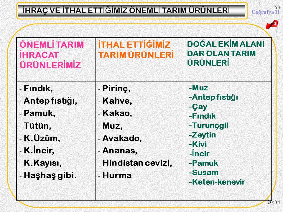 62 20:36 A ş a ğ ıda Türkiye'de yeti ş en bazı tarım ürünlerinin yıllara göre üretim miktarı tablo hâlinde verilmi ş tir. Bu ürünlerden ekonomimiz içi