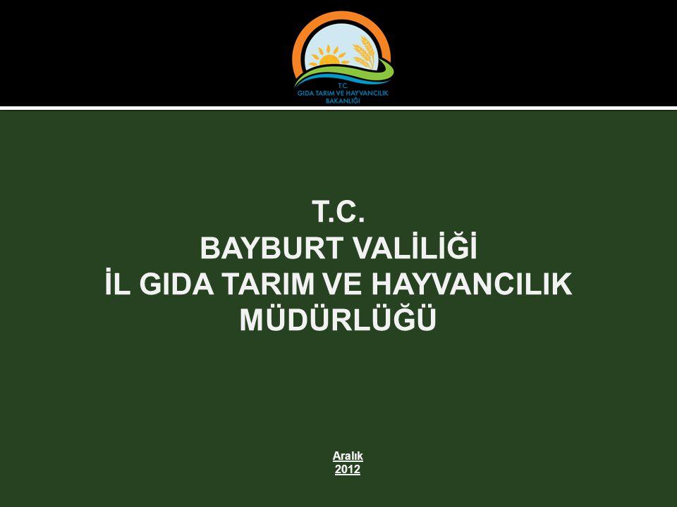 T.C. BAYBURT VALİLİĞİ İL GIDA TARIM VE HAYVANCILIK MÜDÜRLÜĞÜ Aralık 2012