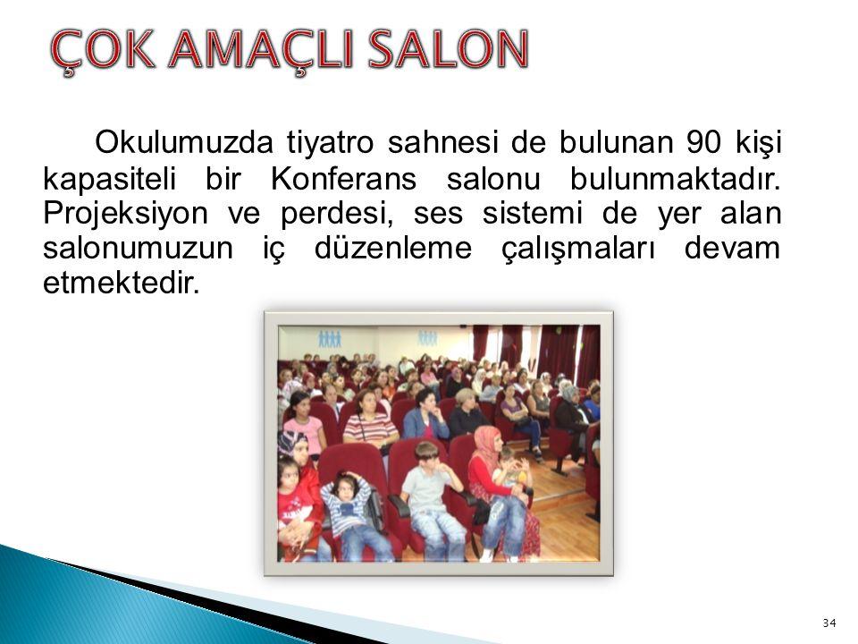 Okulumuzda tiyatro sahnesi de bulunan 90 kişi kapasiteli bir Konferans salonu bulunmaktadır.