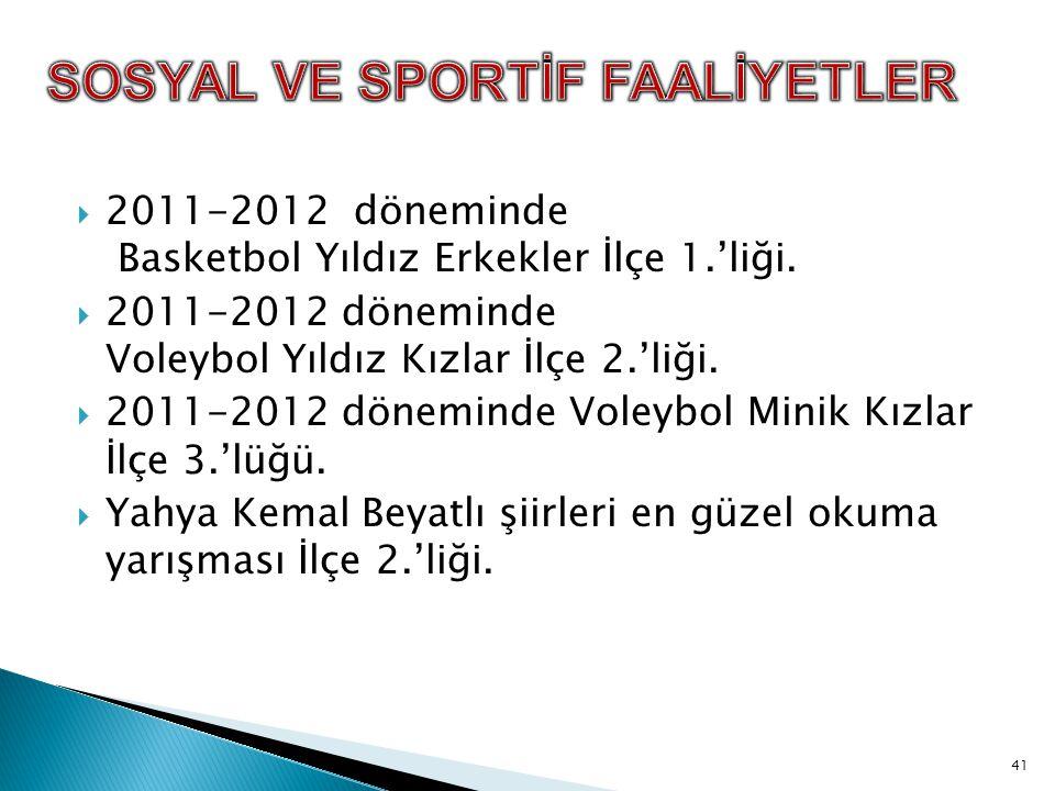  2011-2012 döneminde Basketbol Yıldız Erkekler İlçe 1.'liği.