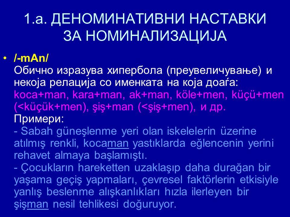1.a. ДЕНОМИНАТИВНИ НАСТАВКИ ЗА НОМИНАЛИЗАЦИЈА /-mАn/ Обично изразува хипербола (преувеличување) и некоја релација со именката на која доаѓа: koca+man,