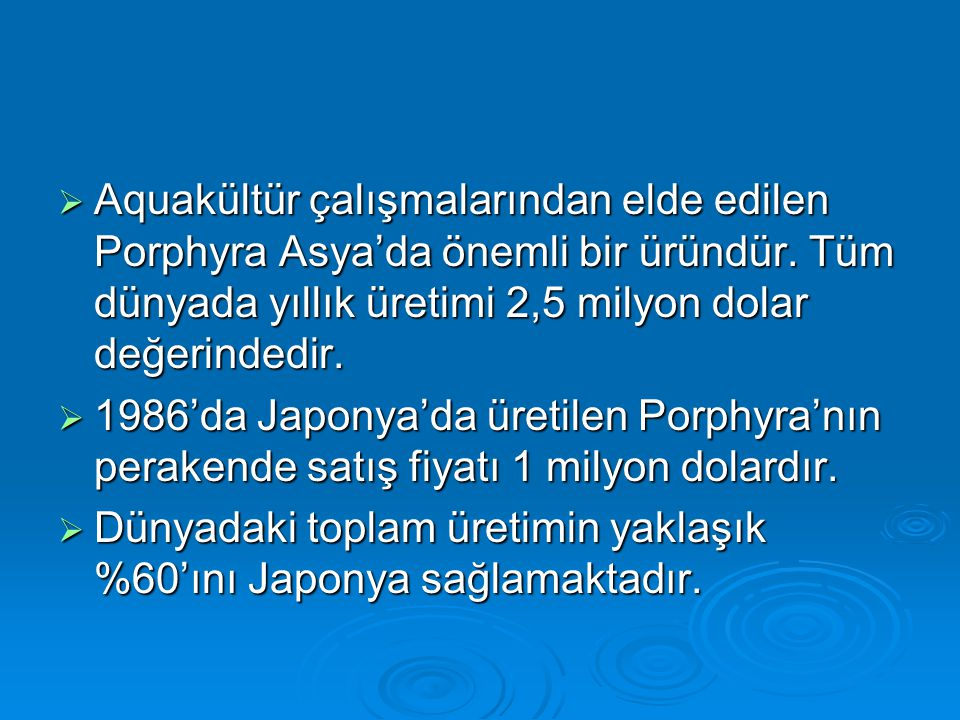 Aquakültür çalışmalarından elde edilen Porphyra Asya'da önemli bir üründür. Tüm dünyada yıllık üretimi 2,5 milyon dolar değerindedir.  1986'da Japo