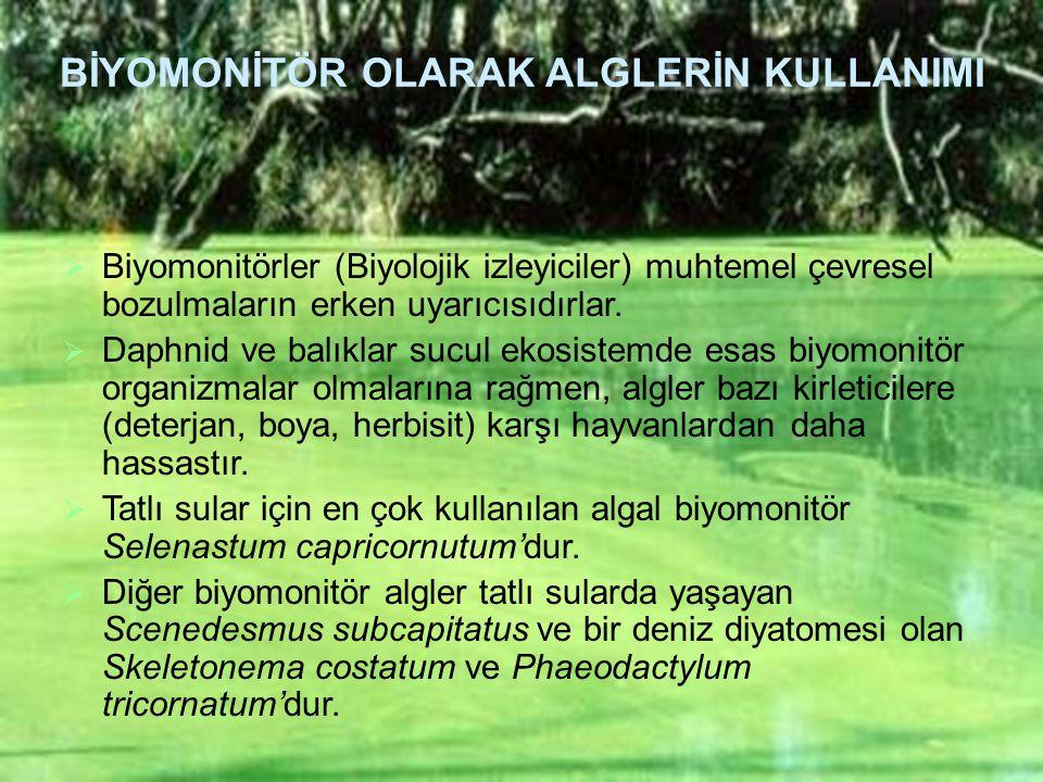 BİYOMONİTÖR OLARAK ALGLERİN KULLANIMI  Biyomonitörler (Biyolojik izleyiciler) muhtemel çevresel bozulmaların erken uyarıcısıdırlar.  Daphnid ve balı