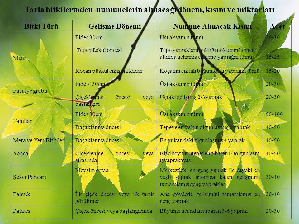 Tarla bitkilerinden numunelerin alınacağı dönem, kısım ve miktarları Bitki TürüGelişme Dönemi Numune Alınacak KısımAdet Mısır Fide<30cmÜst aksamın tüm