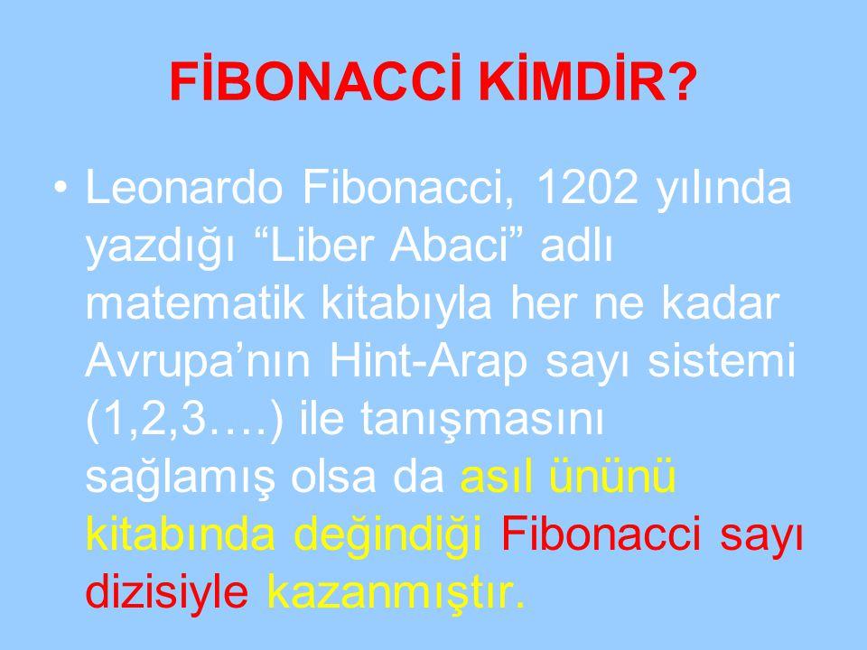"""FİBONACCİ KİMDİR? Leonardo Fibonacci, 1202 yılında yazdığı """"Liber Abaci"""" adlı matematik kitabıyla her ne kadar Avrupa'nın Hint-Arap sayı sistemi (1,2,"""
