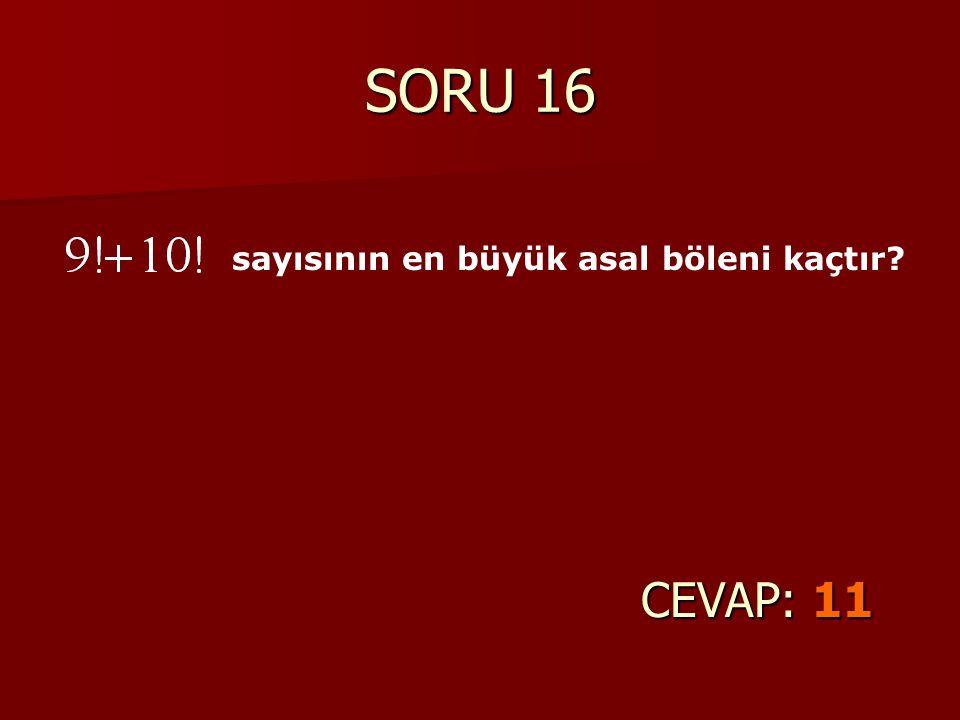 SORU 16 CEVAP: 11 sayısının en büyük asal böleni kaçtır?