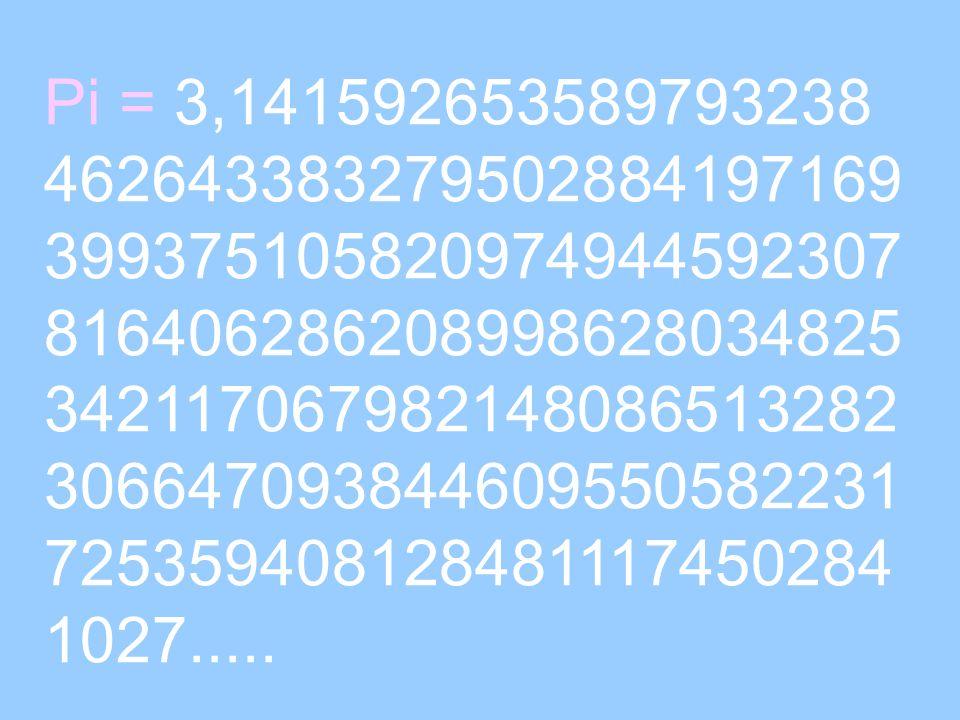 Pi = 3,141592653589793238 462643383279502884197169 399375105820974944592307 816406286208998628034825 342117067982148086513282 306647093844609550582231