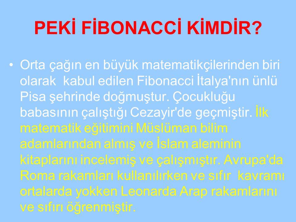 PEKİ FİBONACCİ KİMDİR? Orta çağın en büyük matematikçilerinden biri olarak kabul edilen Fibonacci İtalya'nın ünlü Pisa şehrinde doğmuştur. Çocukluğu b