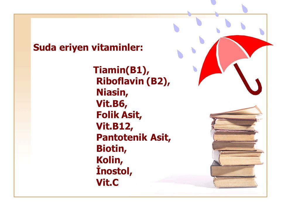 Suda eriyen vitaminler: Tiamin(B1), Riboflavin (B2), Niasin, Vit.B6, Folik Asit, Vit.B12, Pantotenik Asit, Biotin, Kolin, İnostol, Vit.C
