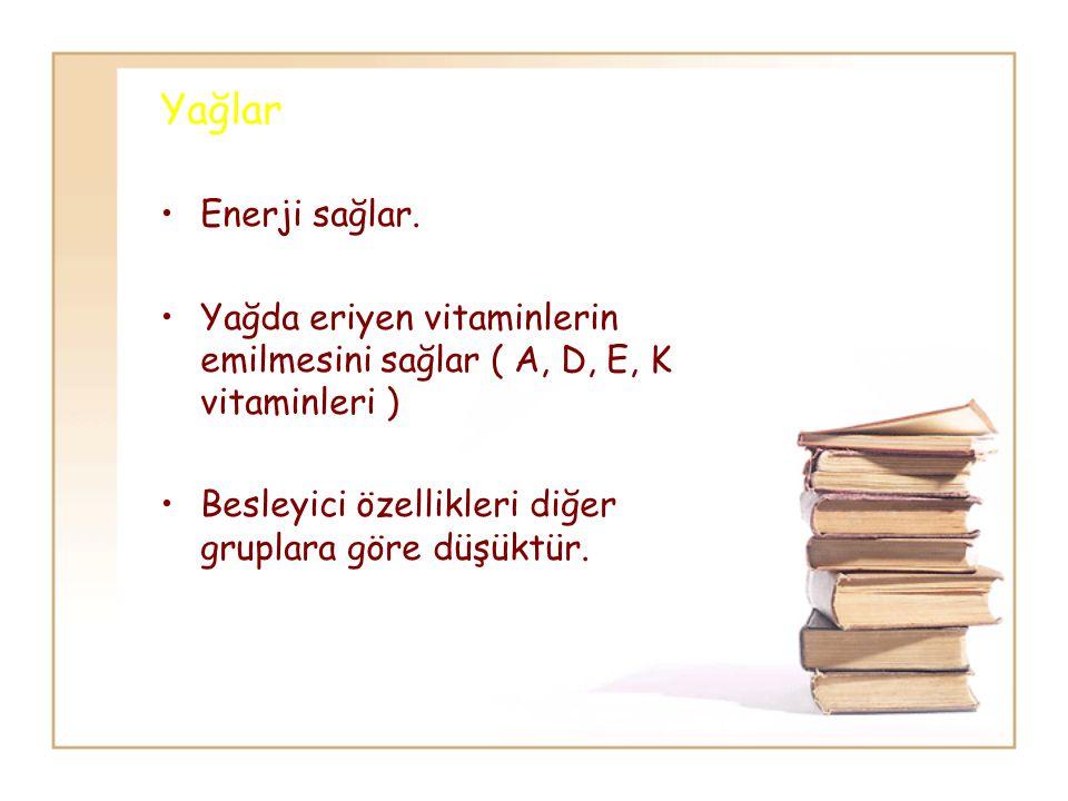 Yağlar Enerji sağlar. Yağda eriyen vitaminlerin emilmesini sağlar ( A, D, E, K vitaminleri ) Besleyici özellikleri diğer gruplara göre düşüktür.