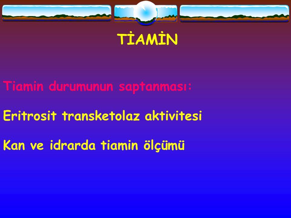 Tiamin durumunun saptanması: Eritrosit transketolaz aktivitesi Kan ve idrarda tiamin ölçümü TİAMİN