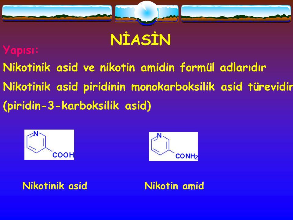 NİASİN Yapısı: Nikotinik asid ve nikotin amidin formül adlarıdır Nikotinik asid piridinin monokarboksilik asid türevidir (piridin-3-karboksilik asid)