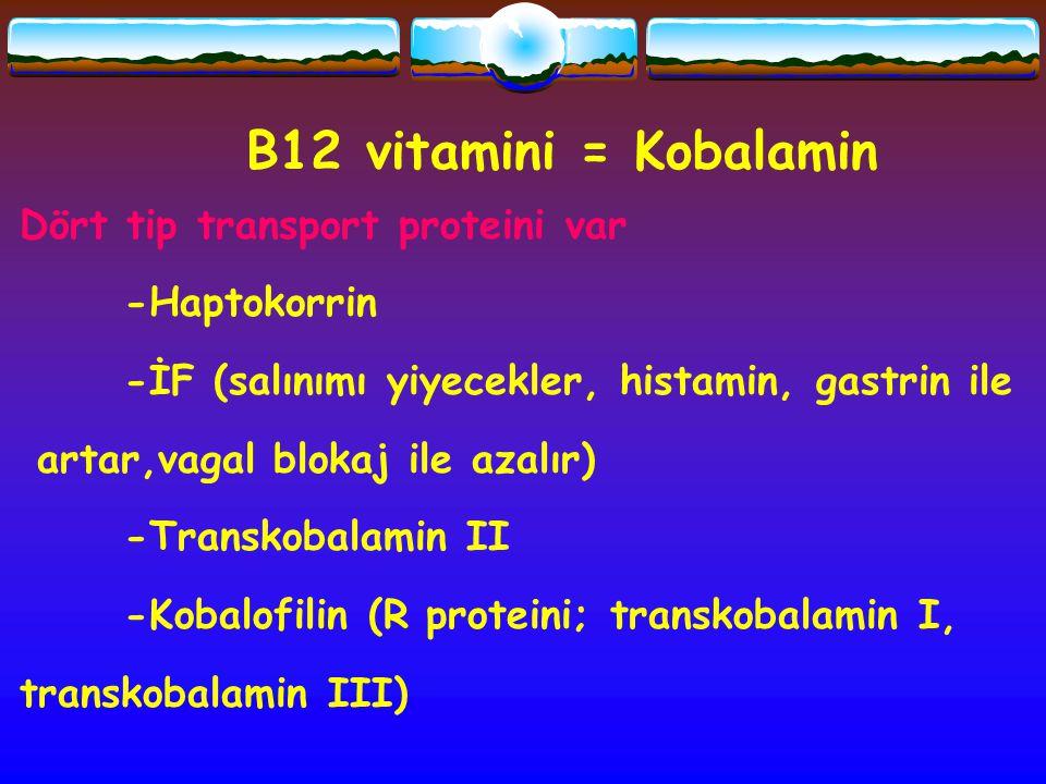 B12 vitamini = Kobalamin Dört tip transport proteini var -Haptokorrin -İF (salınımı yiyecekler, histamin, gastrin ile artar,vagal blokaj ile azalır) -