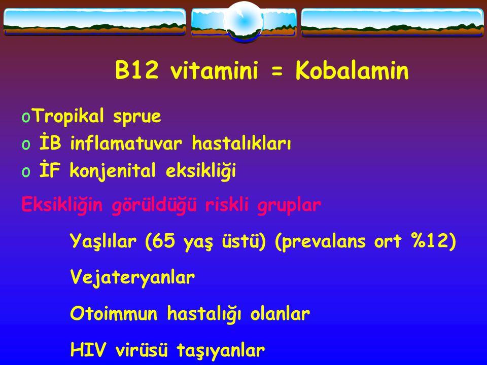 B12 vitamini = Kobalamin oTropikal sprue o İB inflamatuvar hastalıkları o İF konjenital eksikliği Eksikliğin görüldüğü riskli gruplar Yaşlılar (65 yaş