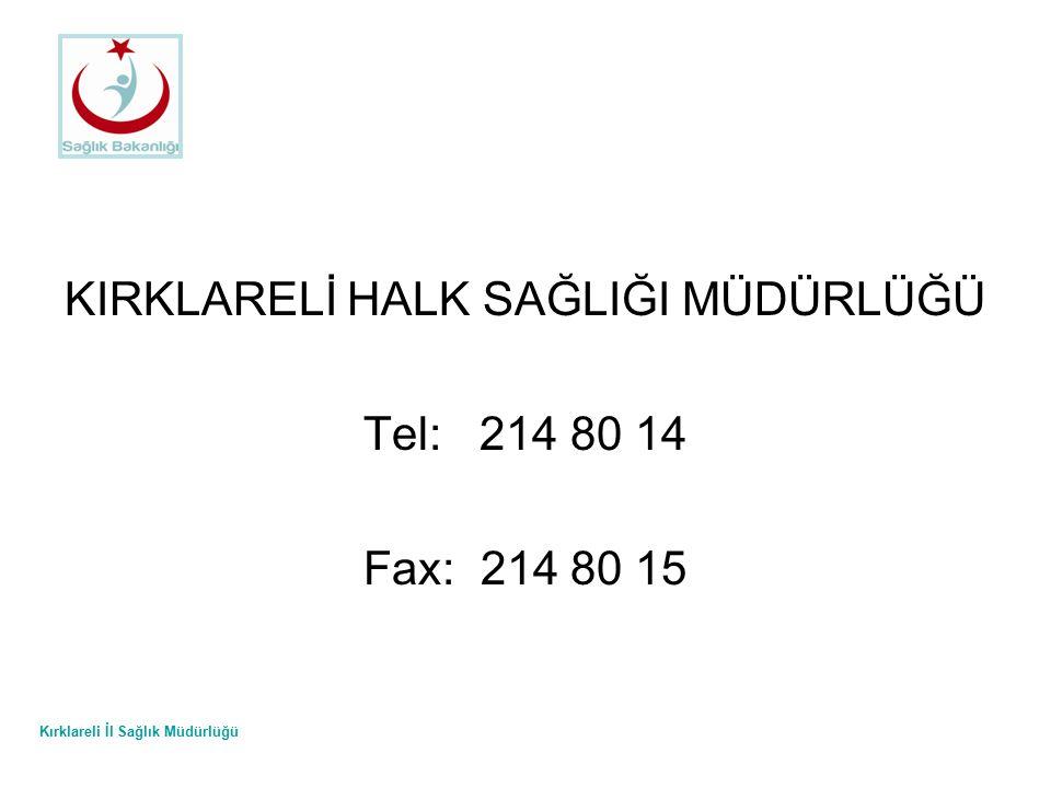 Kırklareli İl Sağlık Müdürlüğü KIRKLARELİ HALK SAĞLIĞI MÜDÜRLÜĞÜ Tel: 214 80 14 Fax: 214 80 15