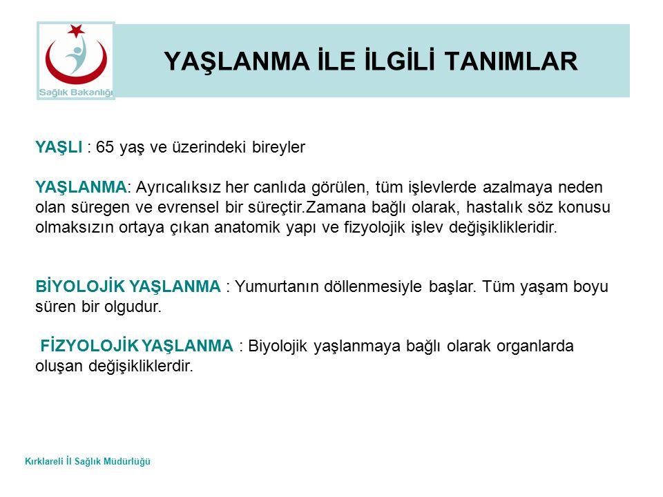 Kırklareli İl Sağlık Müdürlüğü YAŞLILIKTA BESLENME 3.