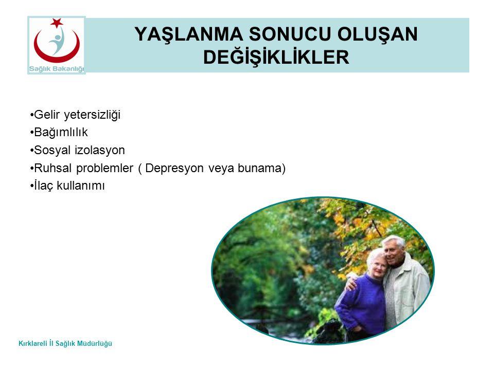 Kırklareli İl Sağlık Müdürlüğü YAŞLANMA SONUCU OLUŞAN DEĞİŞİKLİKLER 2.