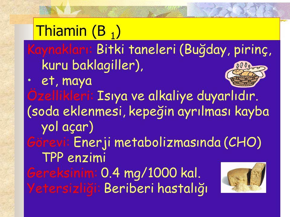 Thiamin (B 1 ) Kaynakları: Bitki taneleri (Buğday, pirinç, kuru baklagiller), et, maya Özellikleri: Isıya ve alkaliye duyarlıdır. (soda eklenmesi, kep