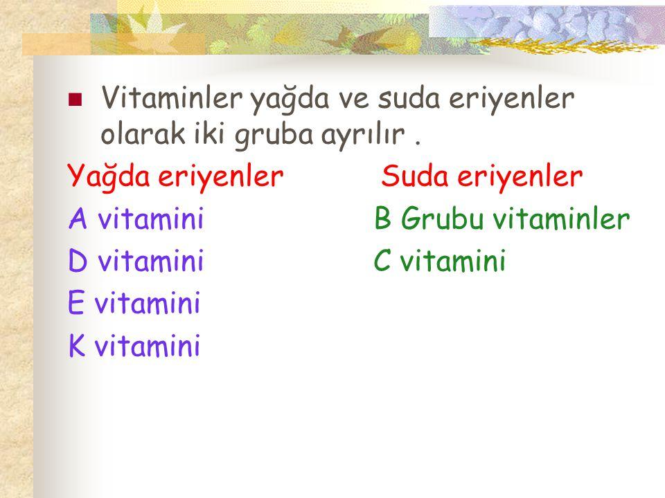 Vitaminler yağda ve suda eriyenler olarak iki gruba ayrılır. Yağda eriyenler Suda eriyenler A vitamini B Grubu vitaminler D vitamini C vitamini E vita