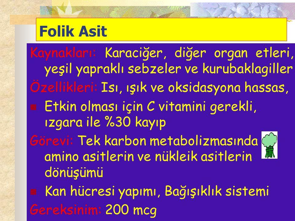 Folik Asit Kaynakları: Karaciğer, diğer organ etleri, yeşil yapraklı sebzeler ve kurubaklagiller Özellikleri: Isı, ışık ve oksidasyona hassas, Etkin o