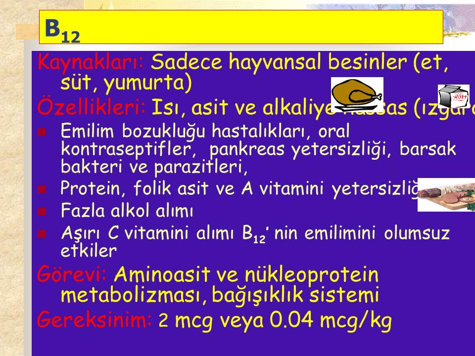 B 12 Kaynakları: Sadece hayvansal besinler (et, süt, yumurta) Özellikleri: Isı, asit ve alkaliye hassas (ızgara) Emilim bozukluğu hastalıkları, oral k