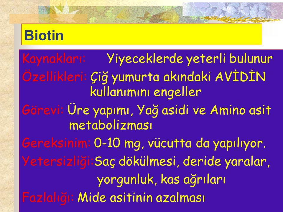 Biotin Kaynakları:Yiyeceklerde yeterli bulunur Özellikleri: Çiğ yumurta akındaki AVİDİN kullanımını engeller Görevi: Üre yapımı, Yağ asidi ve Amino as