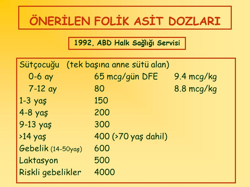 ÖNERİLEN FOLİK ASİT DOZLARI Sütçocuğu (tek başına anne sütü alan) 0-6 ay65 mcg/gün DFE 9.4 mcg/kg 7-12 ay80 8.8 mcg/kg 1-3 yaş150 4-8 yaş200 9-13 yaş3