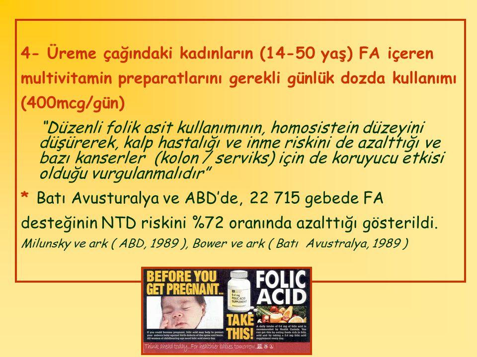 """4- Üreme çağındaki kadınların (14-50 yaş) FA içeren multivitamin preparatlarını gerekli günlük dozda kullanımı (400mcg/gün) """"Düzenli folik asit kullan"""