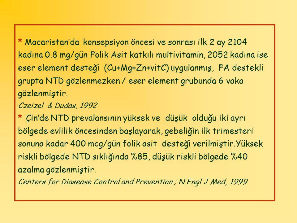 * Macaristan'da konsepsiyon öncesi ve sonrası ilk 2 ay 2104 kadına 0.8 mg/gün Folik Asit katkılı multivitamin, 2052 kadına ise eser element desteği (C