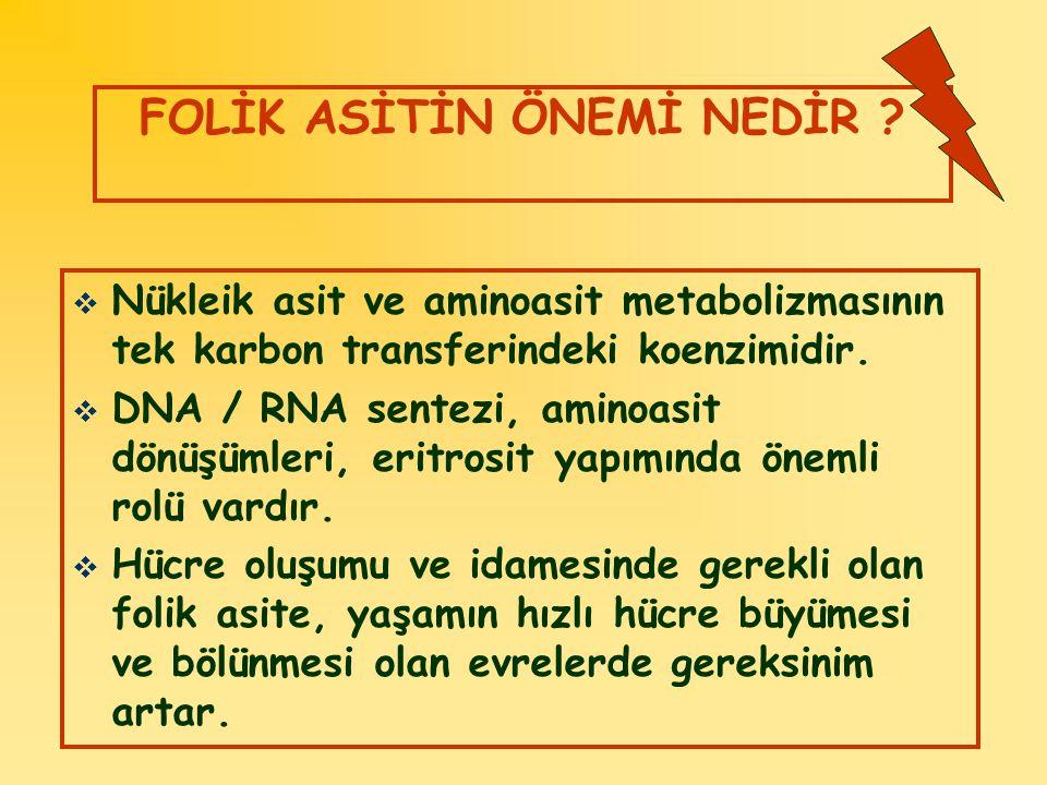 FOLİK ASİTİN ÖNEMİ NEDİR ?  Nükleik asit ve aminoasit metabolizmasının tek karbon transferindeki koenzimidir.  DNA / RNA sentezi, aminoasit dönüşüml