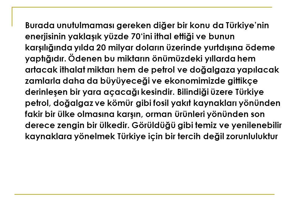 Burada unutulmaması gereken diğer bir konu da Türkiye'nin enerjisinin yaklaşık yüzde 70'ini ithal ettiği ve bunun karşılığında yılda 20 milyar doların