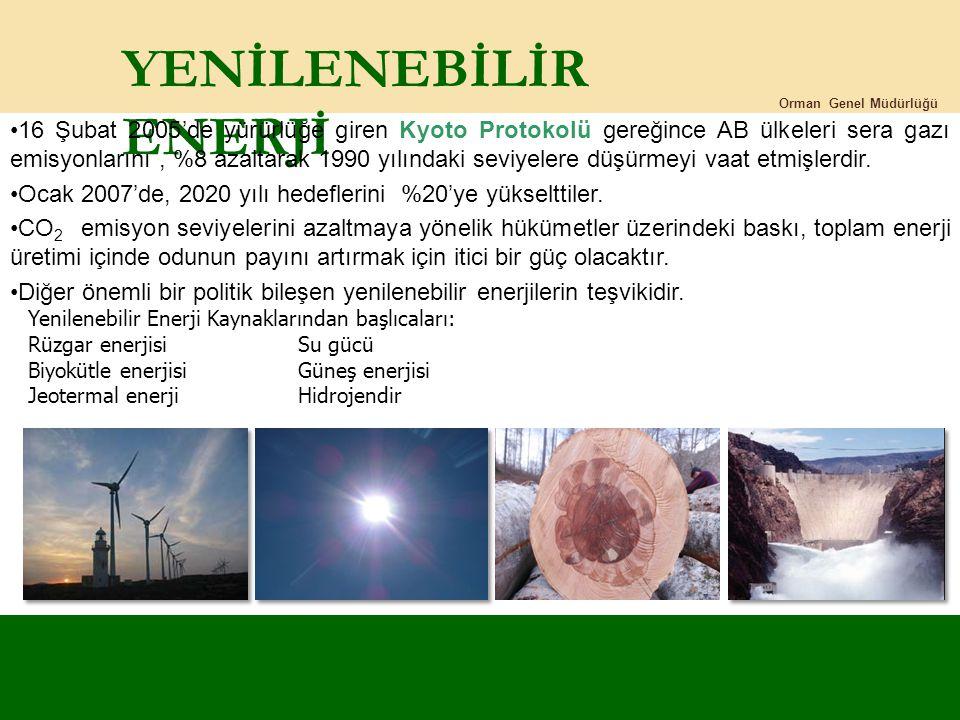 YENİLENEBİLİR ENERJİ Orman Genel Müdürlüğü 16 Şubat 2005'de yürürlüğe giren Kyoto Protokolü gereğince AB ülkeleri sera gazı emisyonlarını, %8 azaltara