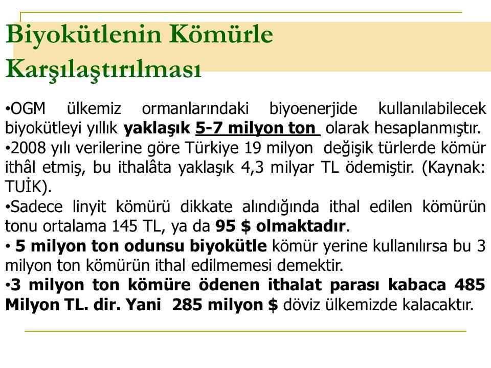 Biyokütlenin Kömürle Karşılaştırılması Orman ve Enerji, Ankara-Temmuz 2009Sayfa 6 OGM ülkemiz ormanlarındaki biyoenerjide kullanılabilecek biyokütleyi
