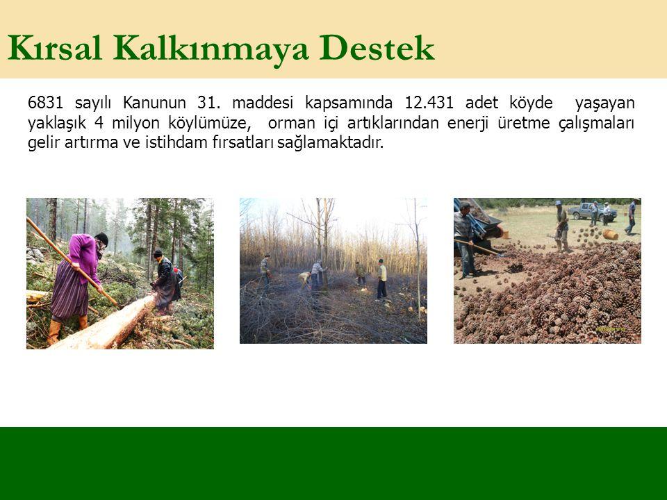 Kırsal Kalkınmaya Destek 6831 sayılı Kanunun 31. maddesi kapsamında 12.431 adet köyde yaşayan yaklaşık 4 milyon köylümüze, orman içi artıklarından ene
