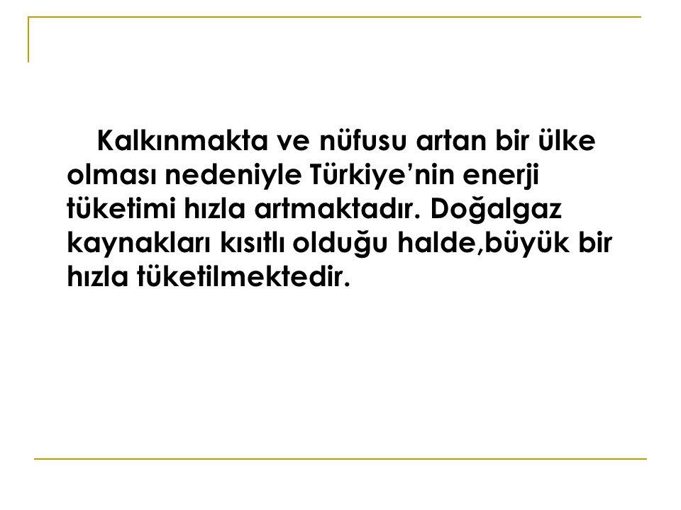 Kalkınmakta ve nüfusu artan bir ülke olması nedeniyle Türkiye'nin enerji tüketimi hızla artmaktadır. Doğalgaz kaynakları kısıtlı olduğu halde,büyük bi